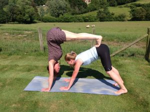 Jules Jayne yoga pose fun sheep outdoors