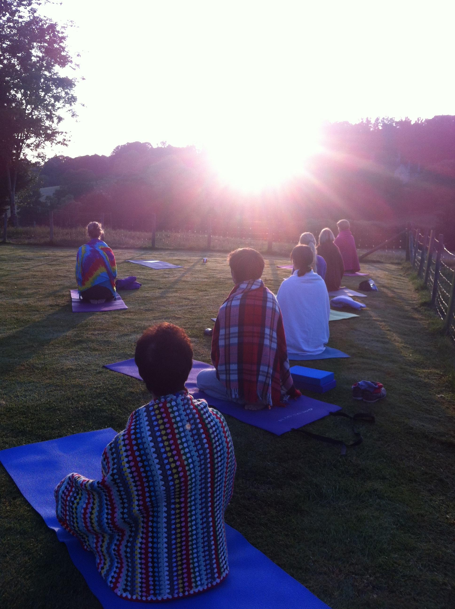 yoga dawn sun mat outdoors health relax